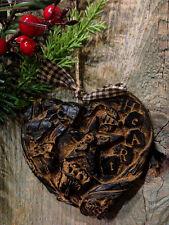 PRiMiTiVE Heart Beeswax Blackened Ornament Cinnamon Scented Folk Art