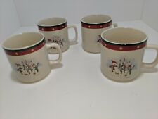 4 Royal Seasons Christmas Holiday Snowman Stocking Tree Coffee Tea Mugs Cups