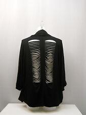 Democracy Women's Wrap Cardigan Black Distressed-Back Dolman-Sleeve Size L