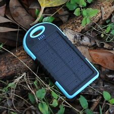 Black 20000MAH External Solar Power Bank Battery Charger Dual USB For iPhone 7