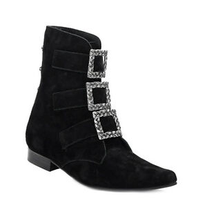 Herren Suede Leder Schuhe Boots & Braces Winkelpiker Garibaldi schwarz Schnallen