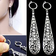 #E122E Non-piercing CLIP ON EARRINGS Dangle THIN Teardrop Crystal Spring Closure