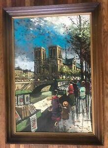Herni Renard b.1920 LARGE France Paris Notre Dame, Canal Oil Painting Framed