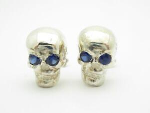 Platinum Sterling Silver Blue Sapphire Skull Head Designer Cufflinks New Gift