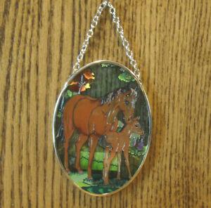 "Amia Studios Small Sun Catcher #06102 STAND BY ME HORSES, NEW/Box, 3.25"" x 4.5"""