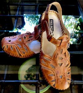 Pikolinos Puerto Vallarta T-Strap Sandals Soft Leather 37 EU 6.5-7 US Brandy