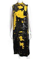 GANNI Womens Sleeveless Sequin Shift Dress Lemon Black Size 32