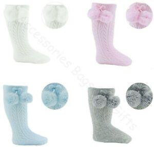 Baby Boys Girls Spanish Romany Pelerine Knee Length Pom Pom Socks 0-24 Months