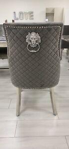 lion knocker dining chairs grey Velvet
