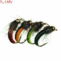 3 Colors 6 PCS//Lot  Size #8 garden worm fly Earth worm Fly Fishing Nymph Bugs