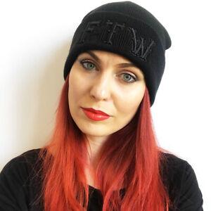 Dragstrip Kustom  black 3d Embroidery FTW Beanie Hat Hot Rod Skater Beanie