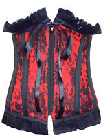 NEW BY VINTAGE GOTH GORGEOUS RED & BLACK LACE BASQUE SIZES XL  L  M  S