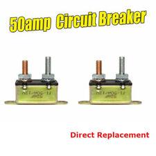 2x Auto Reset Circuit Breaker 50A 12V Caravan Van Metal Fuse Stud Bolt Replace