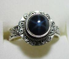Star Sapphire Silver Swirl Ring, 925 Sterling Silver sz 6.75