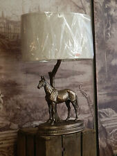 Fabulous Cold Cast Bronze Standing Horse Table Lamp Light With Shade