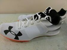 Under Armour Mens Kick Distance Racing Spikes White Black Track Field Shoes 15