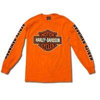 Harley-Davidson Men's Bar and Shield Long Sleeve, Safety Orange T-Shirt