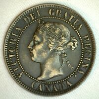 1893 Copper Canadian Large Cent One Cent Coin Very Fine #38