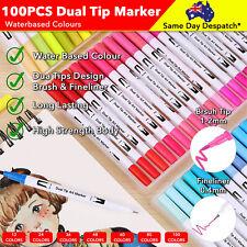 12-100 Pcs Water Based Art Marker Brush Pen Drawing Panting Dual Tips Sketch