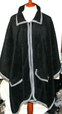 Womens L XL Zippered Cape Shawl w Two Outside Pockets Black Houndstooth