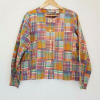 Orvis Patchwork Check Button Down Boxy Shirt Jacket Shacket UK10 Indian Cotton