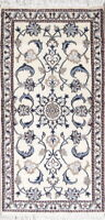 Elegant New Hand-Knotted Ivory Floral Nain Oriental Runner Rug Wool 2×5
