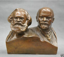 Great Communist Marx And Lenin Bust Engrave Bronze Statue 6''