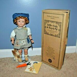 Boyds Bear Little Girls & Boyds Carlie Mae W/Ben Bunny Porcelain Doll EUC