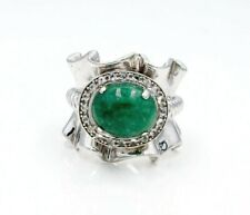 Sterling Silver Jadeite 5.5 Ruffled and Cable with White Topaz .30cts tw Ring