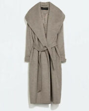 BRAND NEW Zara Wool Wide Lapel Mink  Taupe  Wrap Belted Coat - Size L