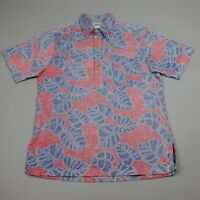 HRH Hawaiian Button Up Shirt Mens Medium Red Floral Aloha Vintage