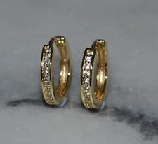Beautiful Yellow Gold Plated Cubic Zirconia Huggie Hoop Earrings