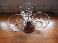 Vintage 3 Dish Serving Stand W/ Glass Bowls Wood Liithie Free Shipping