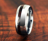 Tungsten Cocobolo Mens Wooden Ring Koa Wood Style Wedding Ring