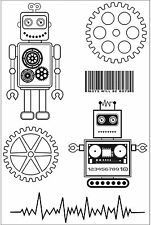Boys Toy Robots Collection 6 Clear Unmounted Rubber Stamp Set Kaisercraft NEW