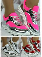 Womens Red White Neon Pink Lace Up Pumps Trainers Casual Comfy Shoes Sneakers