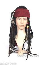 Exact Captain Jack Sparrow Pirate WIG w/ BANDANA hair dreadlock Free Shipping
