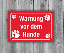 Schild Warnung vor dem Hunde, rot, 25 x 17 cm, Hundewarnschild, Vorsicht Hund