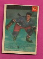 1954-55 PARKHURST # 69 RANGERS BOB CHRYSTAL ROOKIE VG  CARD  (INV# A9264)