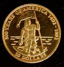 COOK ISLANDS - 50 DOLLARS OR 1991 - 500 ANS DE L'AMERIQUE