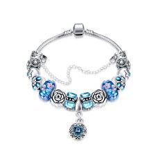 Damen Bettel Armband Beads Charms blau rosa türkis Blüten pl. mit Sterlingsilber