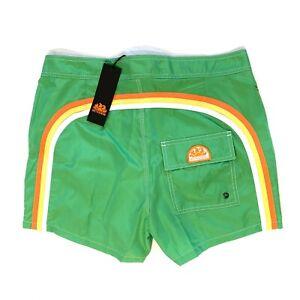 SUNDEK Mens Low Rise Arch Logo Stripe Swim Shorts Trunks Green (MSRP $129)