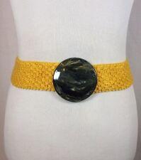 Vintage 60's Yellow Disk Elastic Stretch Belt Retro Boho Hippie Disco Size Small