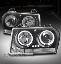 FOR 05-07 CHRYSLER 300 TWIN HALO LED PROJECTOR HEADLIGHTS LAMPS BLACK LEFT+RIGHT