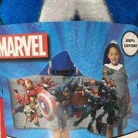 Marvel Boys Avengers Team Captain America Hooded Bath Towel Wrap Sz 25  x 50 NWT