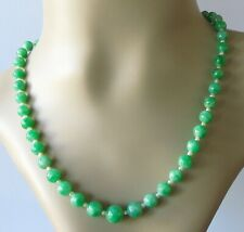 Secondhand Jadeite Jade Multi Beaded Necklace with pearls, gold clasp and cert