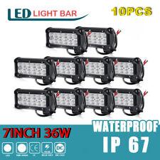 10x 7inch LED Flood Rack Bumper LED Lights Bar Work Light for ATV 4WD Motor 4x4