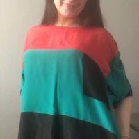 Women's Genelli Top Shirt Large 100% Silk Vintage Colorblock Green Red Black