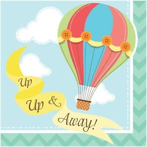 Up, Up & Away Hot Air Balloon Baby Shower Birthday Party Paper Beverage Napkins
