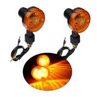 2Pcs 12V Motorcycle Bullet Metal Turn Signal Indicator Amber Light Universal